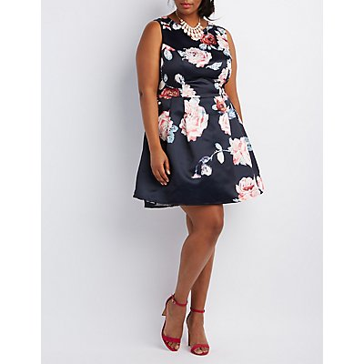 Plus Size Woven Floral Skater Dress