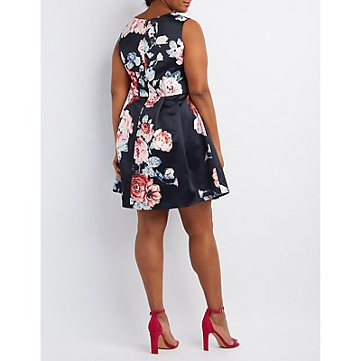 Plus Size Woven Floral Skater Dress