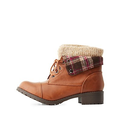 Lined Foldover Combat Boots