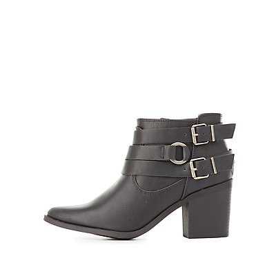 Buckled Harness Ankle Booties
