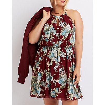 Plus Size Floral Bib Neck Keyhole Dress