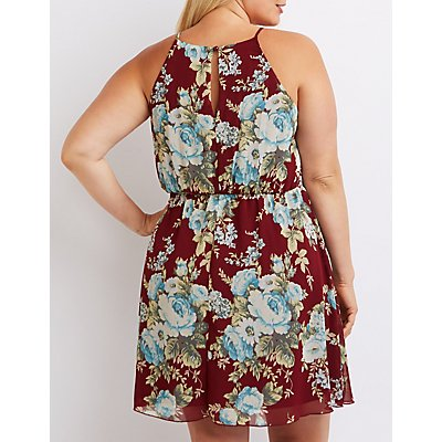 Plus Size Floral Bib Neck Keyhole Dress