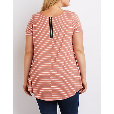Plus Size Striped Swing Tee