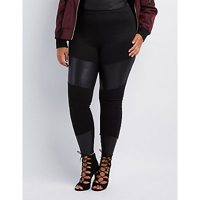 High-Rise Ponte & Faux Leather Leggings