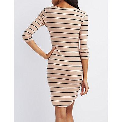 Ribbed Split Neck Bodycon Dress