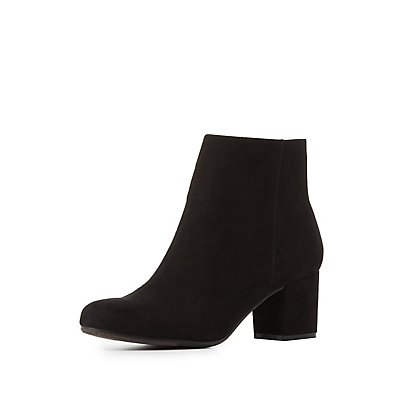 Low Block Heel Ankle Booties