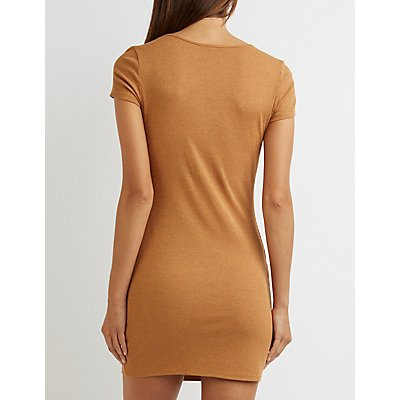 Ruched Asymmetrical Slit Dress