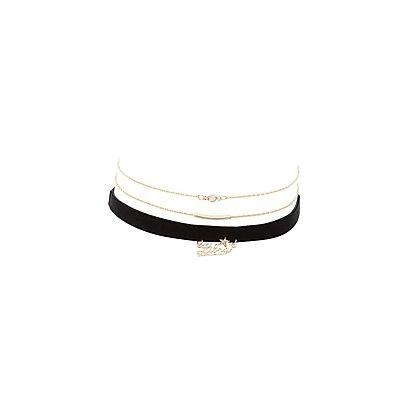 Libra Zodiac Choker Necklaces -3 Pack
