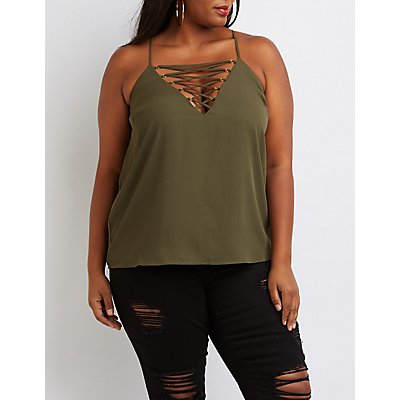 Plus Size Lattice Racerback Top