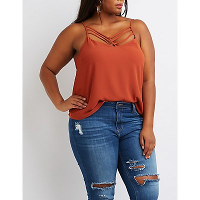 Plus Size Strappy Caged Tank Top