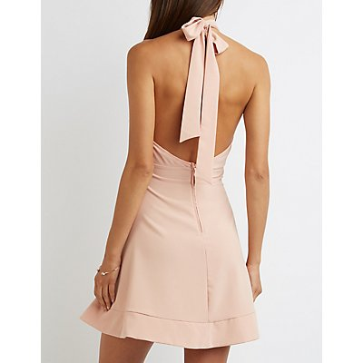 Mock Neck Halter Skater Dress