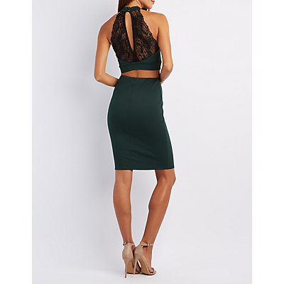 Lace-Back Crop Top & Pencil Skirt Hook-Up