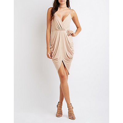 Surplice Draped Cocoon Dress