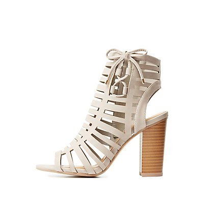 Caged Laser Cut Chunky Heel Sandals
