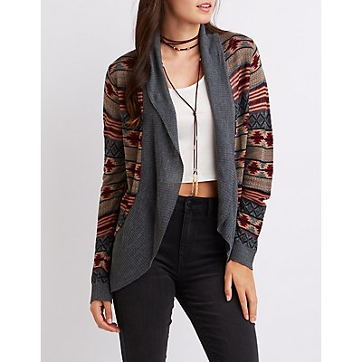 Patterned Lightweight Cocoon Cardigan