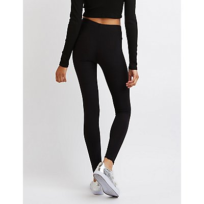 Patched Stretch Cotton Leggings