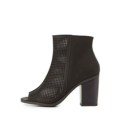 Perforated Peep Toe Ankle Booties