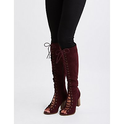 Lace-Up Knee-High Boots