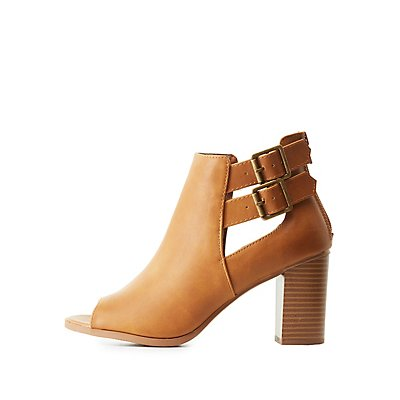 Buckled Cut-Out Peep Toe Booties