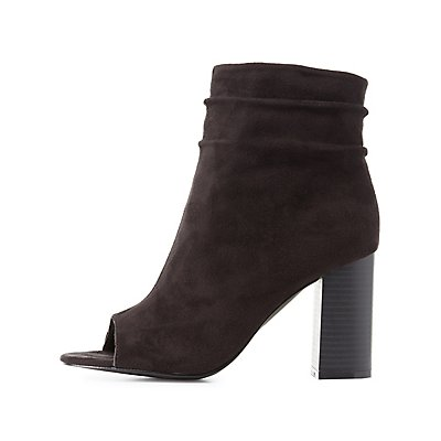 Ruched Peep Toe Ankle Booties