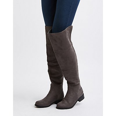 Zipper-Trim Over-The-Knee Boots