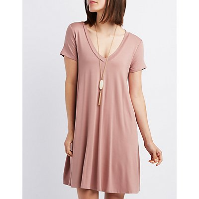 V-Neck Trapeze Shift Dress