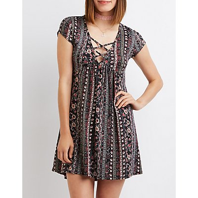 Printed Lattice Babydoll Dress