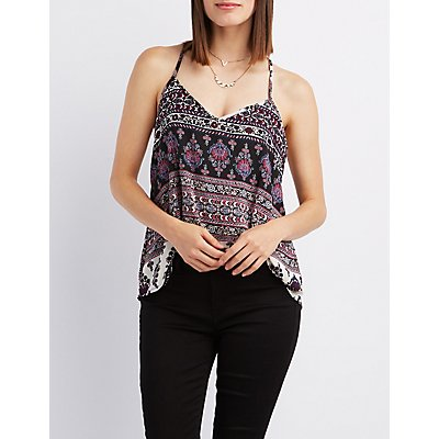 Printed Strappy Tank Top