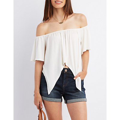 Off-The-Shoulder Sharkbite Crop Top