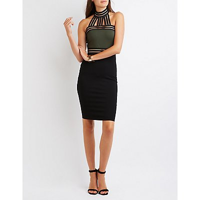 Color Block Mesh-Trim Bodycon Dress