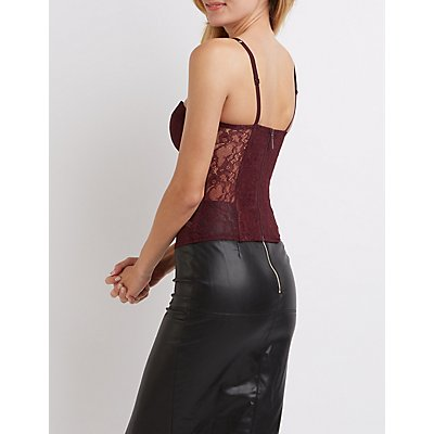 Caged Velvet-Trim Corset Top