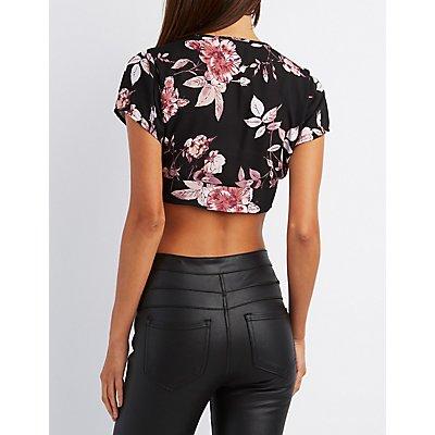 Floral Tie-Front Crop Top