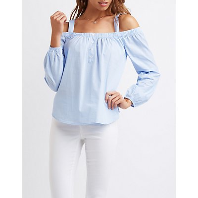 Pinstripe Convertible Cold Shoulder Top
