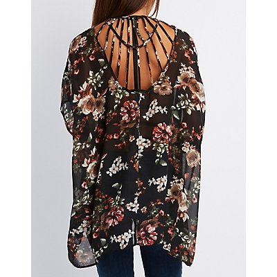 Floral Caged-Back Kimono