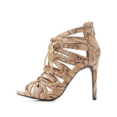 Lace-Up Laser Cut Dress Sandals