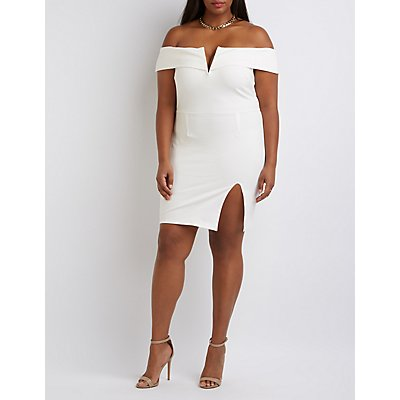 Plus Size Off-The-Shoulder Bodycon Dress
