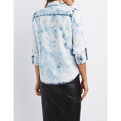 Acid Wash Button-Up Chambray Shirt