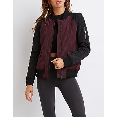 Quilted Colorblock Bomber Jacket