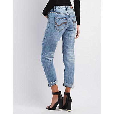 Machine Jeans Destroyed Patches Boyfriend Jeans