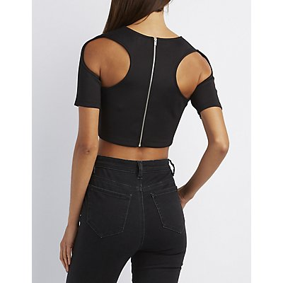Cut-Out Racerback Crop Top