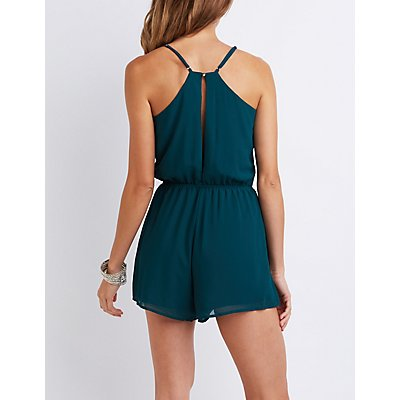 Caged Lattice-Front Romper
