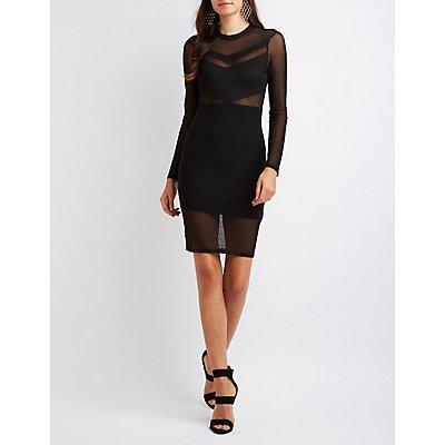 Mesh Mock Neck Bodycon Dress
