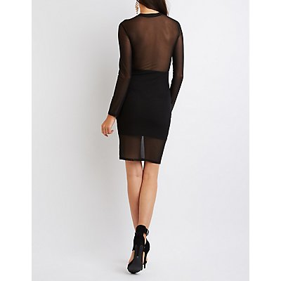 Mesh Mock Neck Bodycon Dress