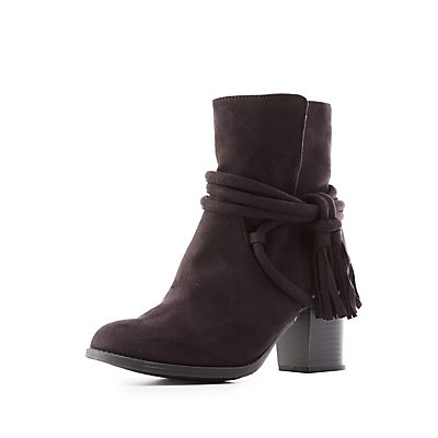 Wrapped Tassel Ankle Booties