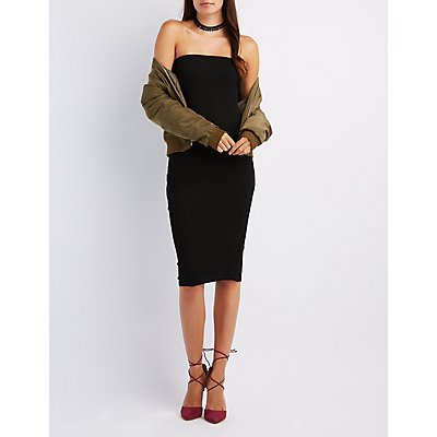 Ribbed Strapless Bodycon Dress