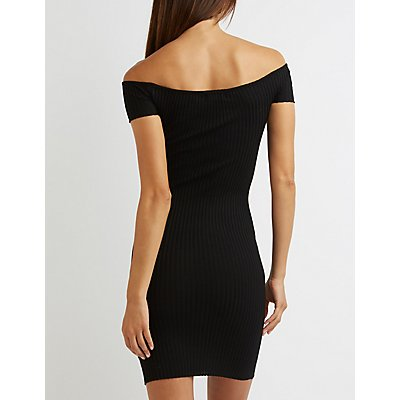 Ribbed Off-The-Shoulder Bodycon Dress
