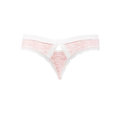 Printed Lace-Trim Thong Panties