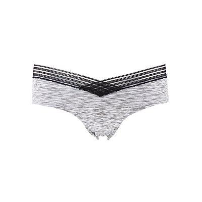 Printed Lace-Trim Cheeky Panties
