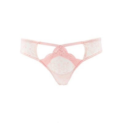 Burnout Mesh & Lace Thong Panties