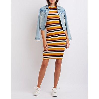 Striped Mock Neck Midi Dress